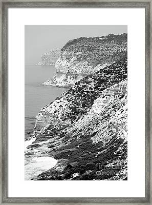 Cyprus View - Black And White Framed Print