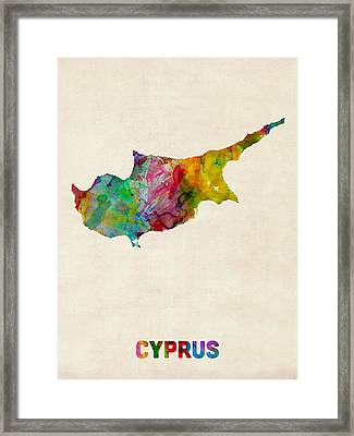 Cyprus Watercolor Map Framed Print