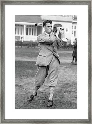Cyril Tolley Swinging A Golf Club Framed Print by Artist Unknown