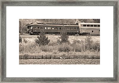 Cyrus K  Holliday Private Rail Car Bw Sepia Framed Print by James BO  Insogna