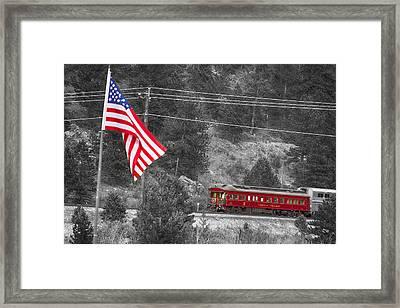 Cyrus K. Holliday Rail Car And Usa Flag Bwsc Framed Print