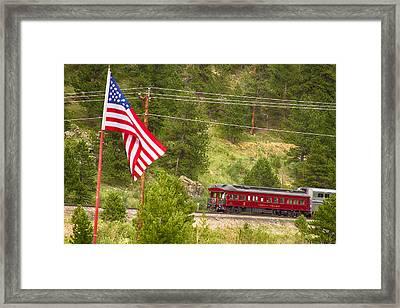Cyrus K. Holliday Rail Car And Usa Flag Framed Print by James BO  Insogna
