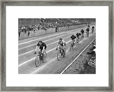Czech Bicycle Race Framed Print by Underwood Archives
