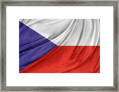 Czech Republic Flag Framed Print by Les Cunliffe