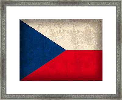 Czech Republic Flag Vintage Distressed Finish Framed Print by Design Turnpike