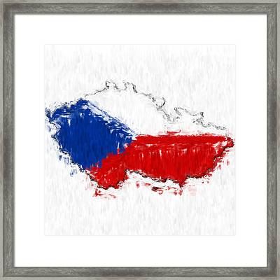 Czech Republic Painted Flag Map Framed Print by Antony McAulay