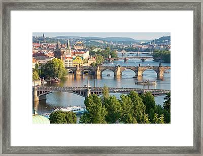 Czech Republic, Prague - Bridges Framed Print