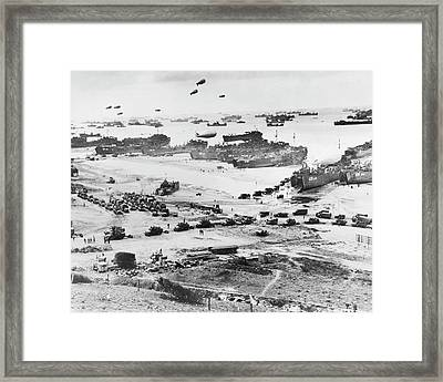 D-day Landings Beachhead Framed Print by Library Of Congress