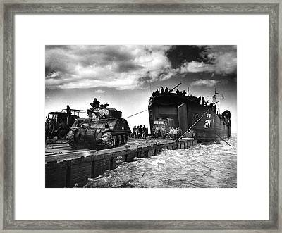 D-day Landings Harbour Framed Print by Us National Archives