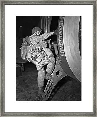 D-day Paratrooper Ready Framed Print by Underwood Archives