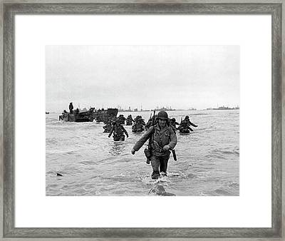 D-day Reinforcements Framed Print by Underwood Archives