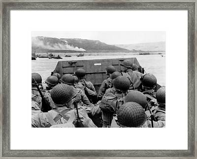 D-day Soldiers In A Higgins Boat  Framed Print by War Is Hell Store