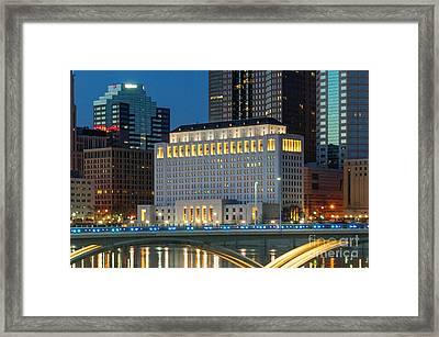 D2l496 Columbus Ohio Night Skyline  Framed Print