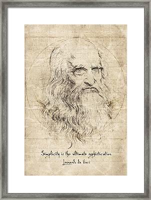 Da Vinci Quote Framed Print by Taylan Apukovska