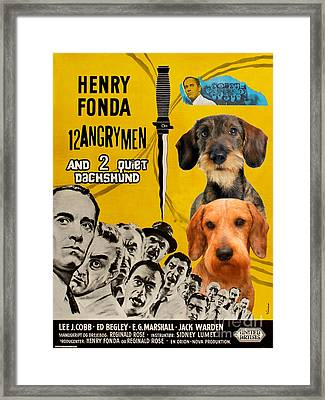 Dachshund Art Canvas Print - 12 Angry Men Movie Poster Framed Print by Sandra Sij