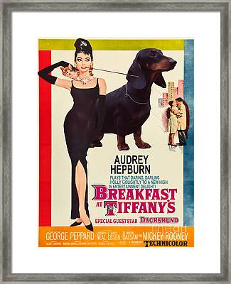 Dachshund Art Canvas Print - Breakfast At Tiffany Movie Poster Framed Print by Sandra Sij