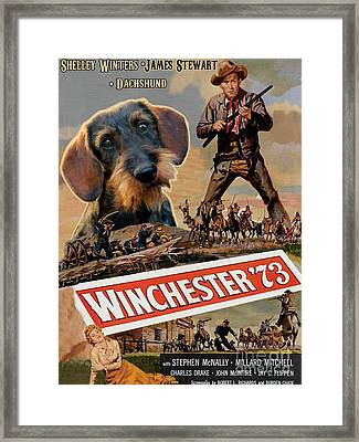 Dachshund Art Canvas Print - Winchester 73 Movie Poster Framed Print by Sandra Sij