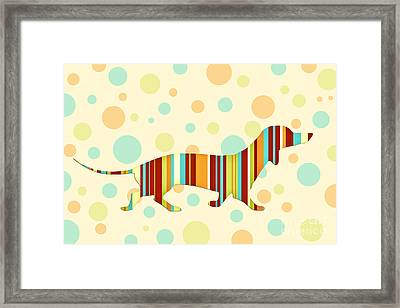 Dachshund Fun Colorful Abstract Framed Print by Natalie Kinnear