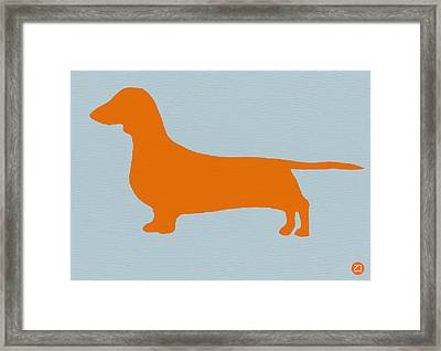 Dachshund Orange Framed Print by Naxart Studio