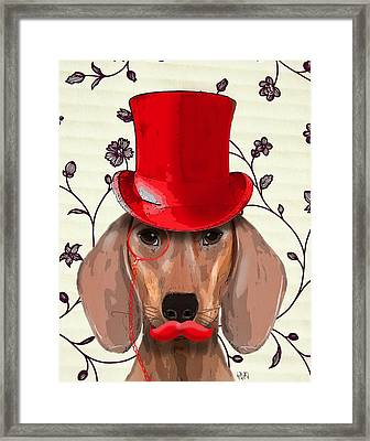 Dachshund Red Hat And Moustache Framed Print by Kelly McLaughlan