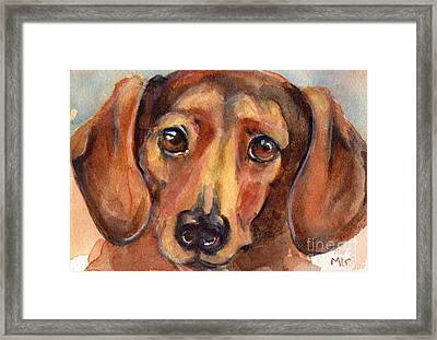 Dachshund Watercolor Framed Print by Maria's Watercolor