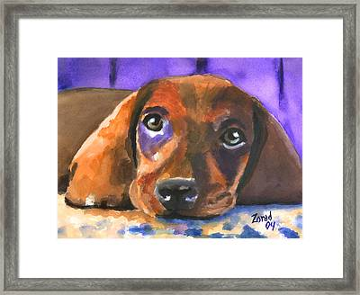 Dachshund Watercolor Framed Print