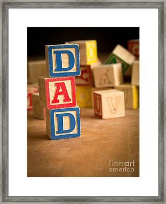 Dad - Alphabet Blocks Fathers Day Framed Print by Edward Fielding