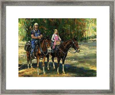 Dad And Daughter On Gatied Mules Framed Print by Don  Langeneckert