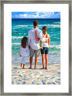 Dad And His Girls Framed Print