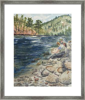 Dad And Son Gearing Up Framed Print by Mary Benke