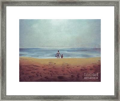 Daddy At The Beach Framed Print