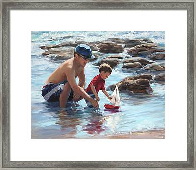 Daddy's Guiding Hands   Framed Print