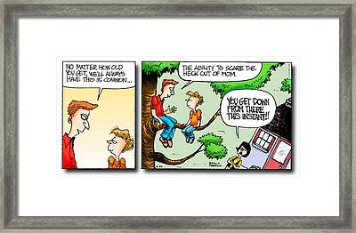 Daddy's Home Dad And Son Bond Scaring Mom Framed Print by Tony Rubino