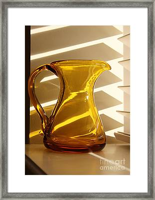 Dad's Amber Pitcher By Blenko Glass Framed Print by Karen Adams