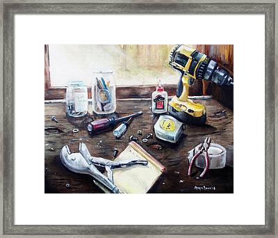 Dad's Bench Framed Print by Shana Rowe Jackson