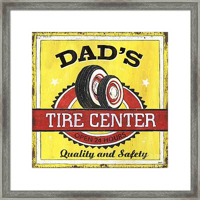 Dad's Tire Center Framed Print by Debbie DeWitt