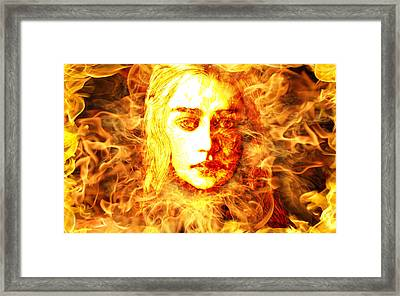 Daenerys Targaryen Bride Of Fire Mother Of Dragons Framed Print by The DigArtisT