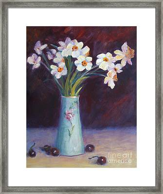 Daffodils And Cherries Framed Print by Carolyn Jarvis