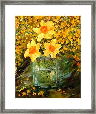 Daffodils And Forsythia Framed Print by Barbara Pirkle