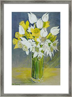 Daffodils And White Tulips In An Octagonal Glass Vase Framed Print by Joan Thewsey