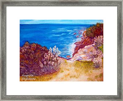 Daffodils At The Beach Framed Print by Augusta Stylianou