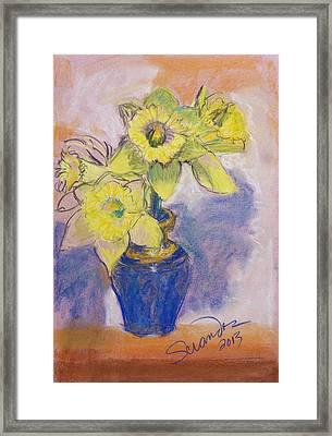 Daffodils In Blue Italian Vase Framed Print by Sciandra