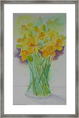 Daffodils In Glass Vase - Watercolor - Still Life Framed Print by Geeta Biswas