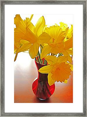 Framed Print featuring the photograph Daffodils In Red Vase by Diane Alexander