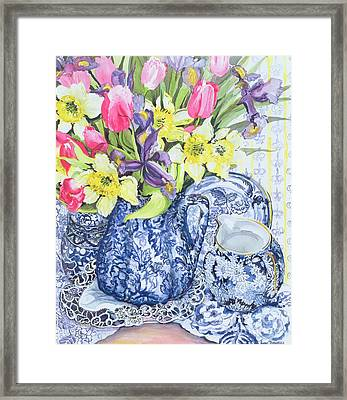Daffodils Tulips And Irises With Blue Antique Pots  Framed Print