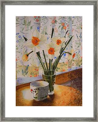 Daffodils With Red Ribbon Framed Print by Adel Nemeth