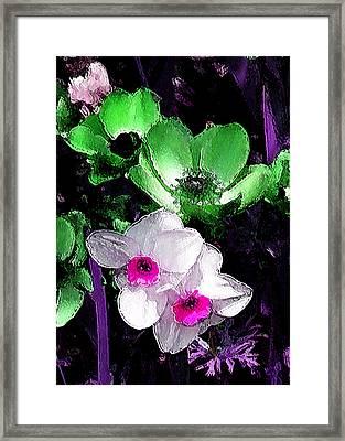 Daffy Green And White Framed Print