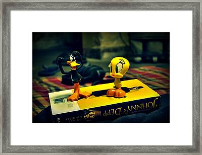 Daffy Tweety And Johnny Framed Print