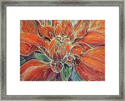 Dahlia Floral Abstract  Framed Print by Marcia Baldwin