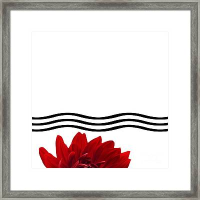 Dahlia Flower And Wavy Lines Triptych Canvas 1 - Red Framed Print by Natalie Kinnear